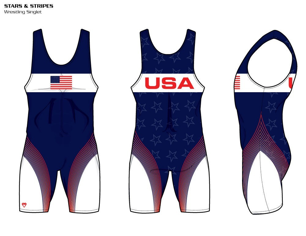 Stars & Stripes Sublimated Wrestling Singlet