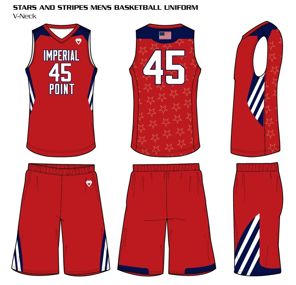Stars and Stripes Men's Sublimated Basketball Uniform