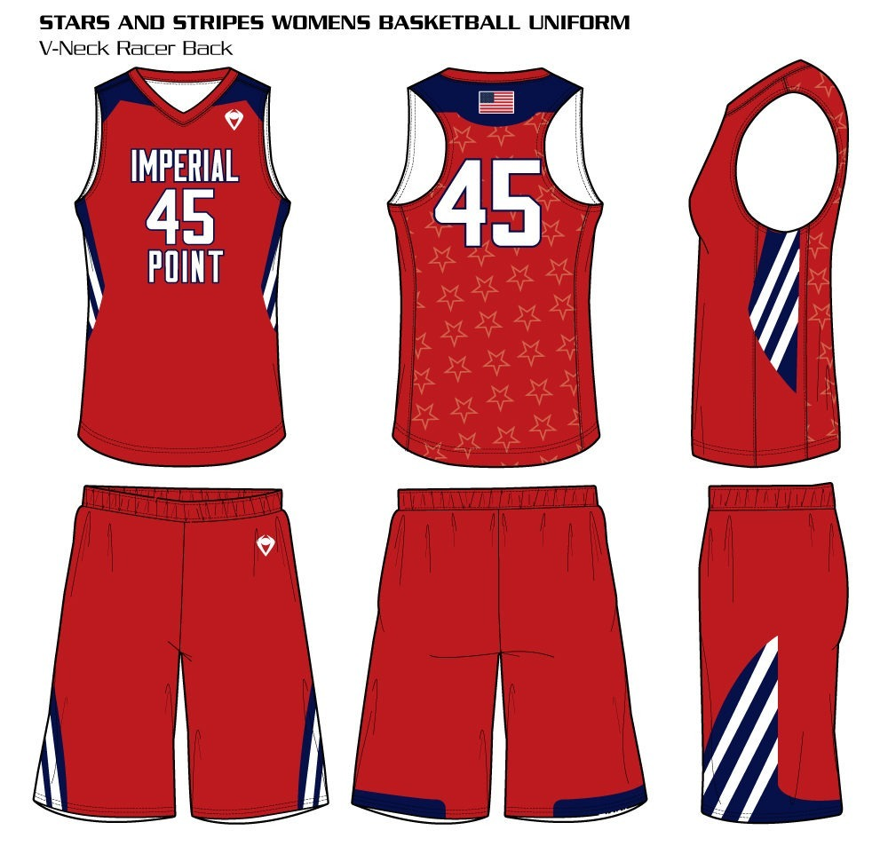 Stars and Stripes Women's Sublimated Basketball Uniform